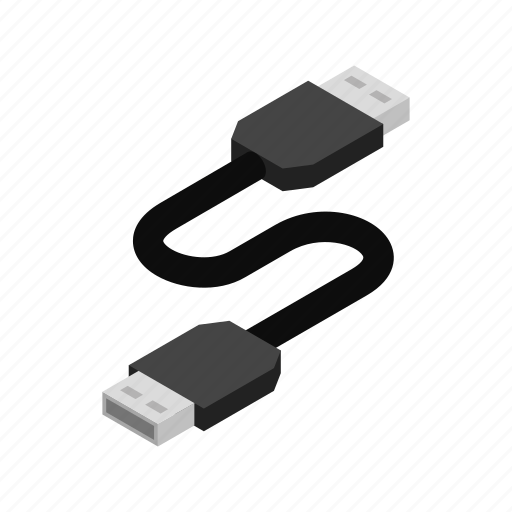 cable, computer, connection, electronic, isometric, technology, usb icon