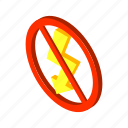 energy, flash, isometric, lightning, power, sign, voltage icon
