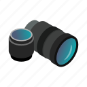 camera, equipment, hobby, isometric, lens, photo, zoom icon