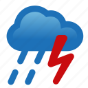 drizzle, lightning, rain, storm, thunderstorm, weather icon