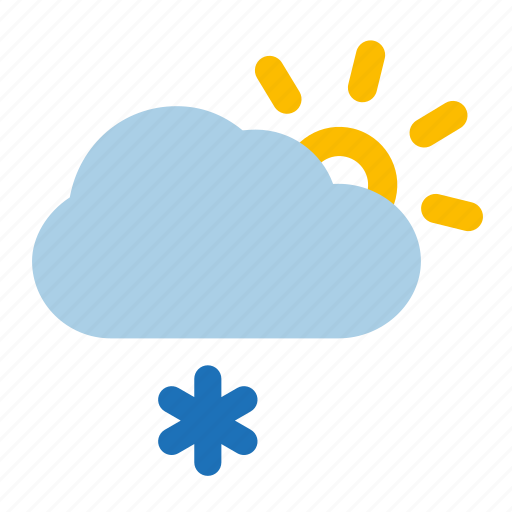 cloud, flurries, snow, sun, sunny, weather, winter icon