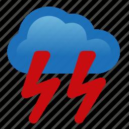 heavy, lightning, rain, storm, thunderstorm, weather icon