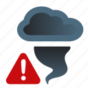 alert, attention, storm, tornado, warning, weather icon