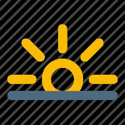 rise, sun, weather icon