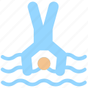 dip, dive, jump, man, sea, swim, swimming pool, water, water dive icon
