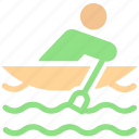 boat, kayak, man, paddle, person, sport, water icon