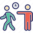 belated, late employee, late worker, reaching late, tardy icon