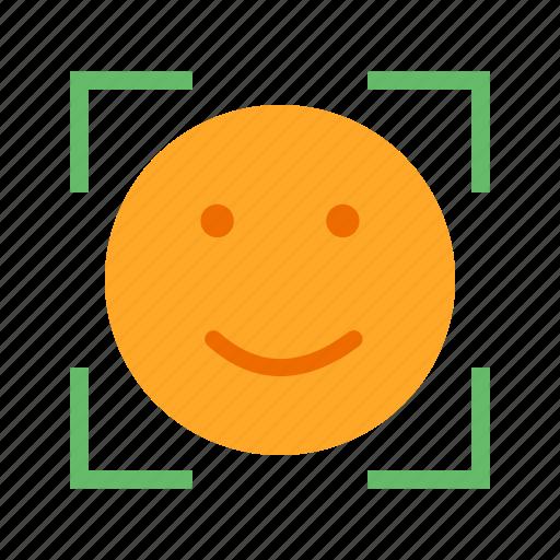 emoticon, face, focus, smile, tag, zoom icon