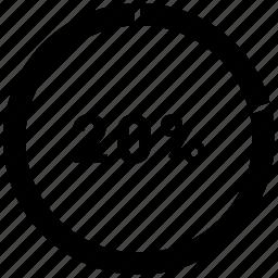chart, circle, double, graph, pie chart, twenty icon