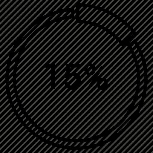 fifteen, graph, pie, pie chart, pie graph, statistics icon
