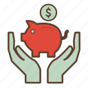 bank, dollar, economies, money, piggy, piggy bank, savings icon