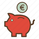 euro, money, piggy, piggy bank, piggybank, saving, savings icon