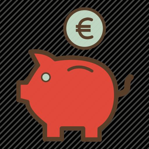 euro, money, piggy, piggy bank, piggybank, saving, savings icon