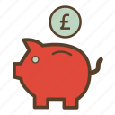 money, piggy, piggy bank, piggybank, pound, saving, savings icon