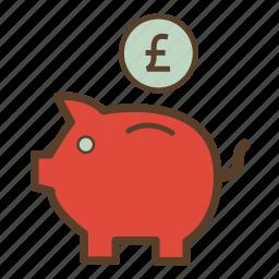 money, piggy, piggy bank, piggybank, pound, saving, savings icon