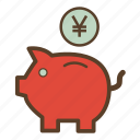 money, piggy, piggy bank, piggybank, saving, savings, yen icon