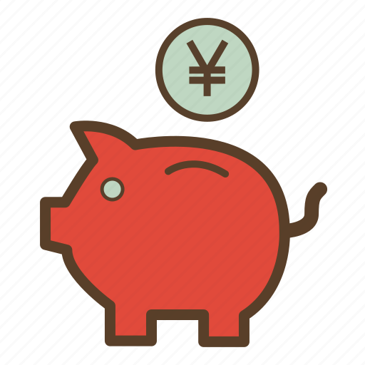 money, piggy, piggy bank, piggybank, saving, savings, yen icon