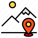 location, locations, map, mountain, pin icon