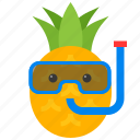 diving mask, food, fruit, pineapple, summer, tropical, vacation icon