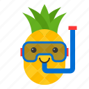 diving mask, food, fruit, pineapple, summer, tropical, vacation