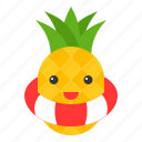 food, fruit, pineapple, summer, swim ring, tropical, vacation icon
