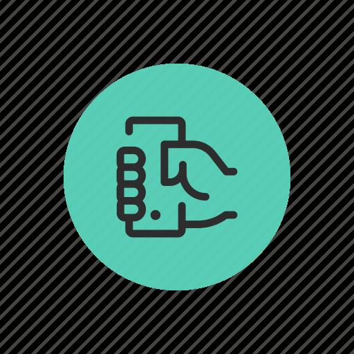 grab, grabbing, hold, mobile, phone, smartphone, user icon