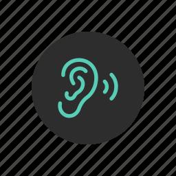 ear, hear, hearing, listen, listening, sound, vibration icon