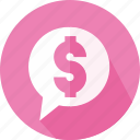 business, buying, dollar, money, speech icon