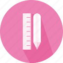 dimmensions, materials, measure, pen, pencil, ruler icon