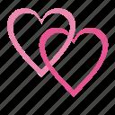 heart, love, romantic, two hearts, valentine, valentine's day, valentines, wedding icon
