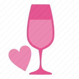 alcohol, beverage, bottle, champagne, cocktail, drink, glass, heart, love, romantic, valentine, valentine's day, wine, wineglass icon