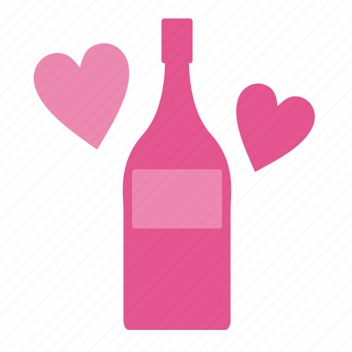 alcohol, beverage, bottle, champagne, drink, glass, heart, love, valentine, valentine's day, wine, wineglass icon