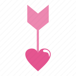 arrow, arrows, direction, down, heart, love, pin, pointer, valentine's day icon