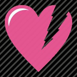 broken heart, day, favorite, heart, love, romantic, valentine, valentine's, valentine's day, wedding icon