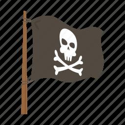 adventure, flag, ocean, pirate, skeleton icon