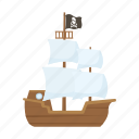 adventure, ocean, pirate, sail, ship icon