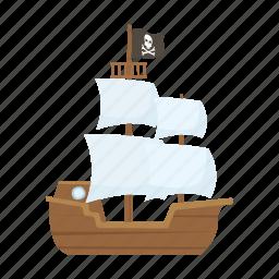 adventure, ocean, pirate, sail, ship icon