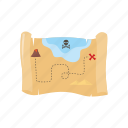 adventure, map, ocean, pirate, treasure icon