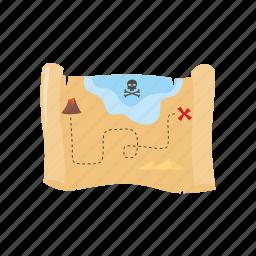 adventure, map, ocean, pirate, treasure icon