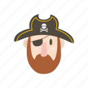 adventure, captain, eye patch, ocean, pirate, sailor icon