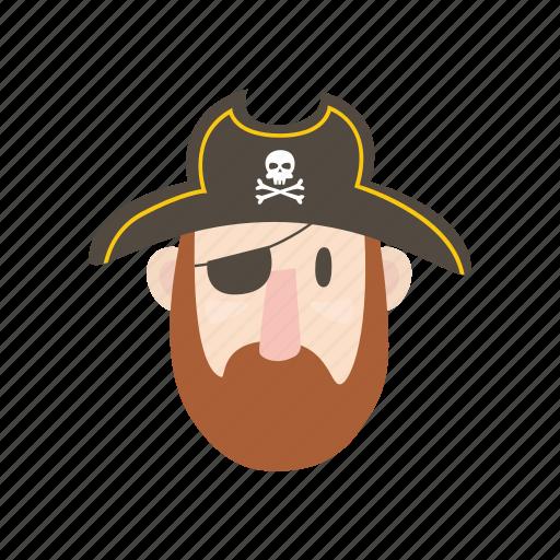 adventure, captain, eye patch, ocean, pirate, sailor icon