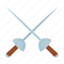 adventure, cross, fencing, ocean, pirate, sword icon