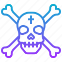 crossbone, death, pirate, skull icon