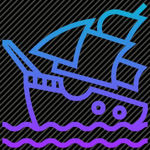 cruise, pirate, ship, shipwreck, transport, transportation icon