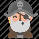 avatar, emoji, emoticon, halloween, pirate, profile, whistling icon
