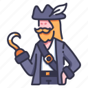 beard, captain, character, hand, hat, hook, pirate icon