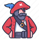 beard, captain, character, hat, people, pirate, vintage icon