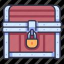 gold, treasure, lock, box, chest, antique, old