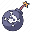 skull, explosion, fire, bone, danger, weapon, pirate