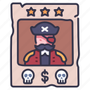 criminal, outlaw, pirate, poster, reward, vintage, wanted icon